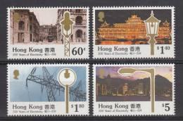 Hong Kong MNH Scott #574-#577 Set Of 4 Electricity In Hong Kong Centenary - Views Of City And Street Lights - Nuevos