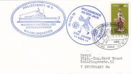 """SCHIFFSPOST: Polizeiboot, Küstenstreifenboot, """"W 1"""", WSP Wilhlmshaven, 200 Jahre USA, Stempel: Wilhelmshaven 22.8.1976 - Maritime"""