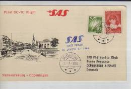 SAS SCANDINAVIAN AIRLINES  FIRST DC-7 FLIGHT     SPECIAL COVER     OHL - Norway
