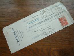 J. VANSTRATEN ( Sioen E/V ) Anno 1926 - BRUXELLES / RECU - WISSEL ! - Wechsel