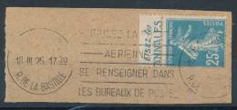Semeuse 25c Bleu Pub Les Annales Sur Fragment Avec Flamme Poste Aérienne - Advertising