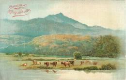 Chromos Réf. A550. Chocolat D ´Aiguebelle - Paysage, Pré, Vaches, Montagnes - Aiguebelle