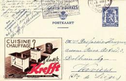 """Belgien 1942, 50C Ganzsache Auf Schöner Werbekarte """"KREFFT"""" - Stamped Stationery"""
