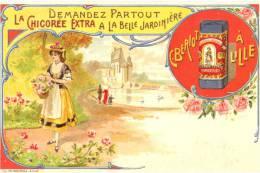 59 - Nord - Litho Couleur. Chicorée Extra Belle Jardinière, C. Bériot à Lille (fond Rouge) - Unclassified
