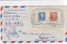 Luftpost-Brief  Aus New York Nach Erfurt Frankiert Mit Einem Block Und NACHTRÄGLICH ENTWERTET - Vereinigte Staaten