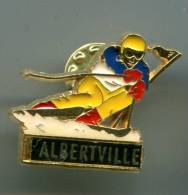 PINS SPORTS D´HIVER ALBERTVILLE SKI SLALOM / Signé Martineau - Wintersport