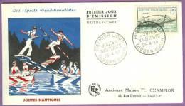 FDC Joutes Nautiques  Yvert & Tellier N°1162 - 26/04/1958 à Givors / Sport Jeux Traditions Rhône (+ Au Dos N°1005) - FDC