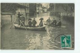 ASNIERES - Inondations De Janvier 1910 - Rue Du Maine Animée - Edition F.F. -  2 Scans - Asnieres Sur Seine