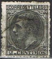 Sello 2 Cts Alfonso XII 1879, VARIEDAD Calcado Al Dorso, Num 200 º - Usados