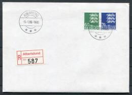 1986 Denmark Albertsund Small National Coat Of Arms Definatives 6.5kr & 20kr Registered FDC - FDC