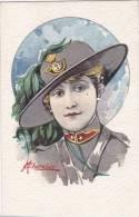 DONNA CON DIVISA DA BERSAGLIERE   ILL. CHERUBINI VG 1915 AUTENTICA 100% - Illustratori & Fotografie