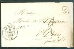 Oblitération Cachet à Date Le Mans En Nov 1843 Sur LAC Taxe Manuscrite 2 Décimes + TAMPON 1 DECIME RURAL Ax6611 - 1801-1848: Précurseurs XIX