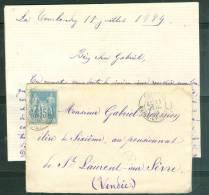 LAC Affranchie Par Yvert N°90  Oblitéré Chemillé En Juil 1884 + Cachet Facteur ( Latourlandry ) Ax6612 - Marcofilie (Brieven)