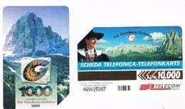 TELECOM ITALIA - C.& C. F3092 - 1000 ANNI  VAL GARDENA BILINGUE AA   - USATA - Italia