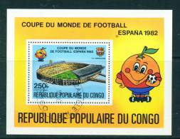 CONGO (BRAZZAVILLE) - 1982 Football World Cup Miniature Sheet 250f Used As Scan - Used