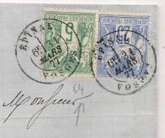 Lettre SAGE Tarif 30c AVEC 5C TYPE I EPINAL VOSGES Pour Alsace. Peu Commun - Postmark Collection (Covers)