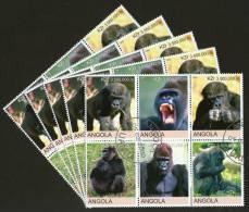 Angola 2000 Monkey Gorilla Wild Life Animal Fauna Setenant BLK/6 Cancelled X5 # 13495 - Gorillas