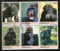 Angola 2000 Monkey Gorilla Wild Life Animal Fauna Setenant BLK/6 Cancelled  # 13495 - Gorillas