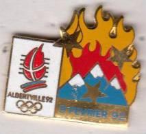 Pins PINS JEUX OLYMPIQUES ALBERTVILLE 9 FEVRIER 92 ET FLAMME - Olympic Games