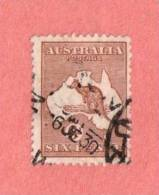 AUS SC #96  1929 Kangaroo And Map W/nibbed Perf @ TL, CV $22.50 - Used Stamps