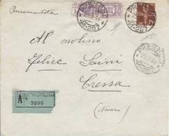 1944 Raccomandata In Emergenza Pacchi Postali Regno Da Premeno  Per Cressa (Novara) - Annullo Frazionario - 1944-45 République Sociale