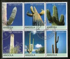 Angola 2000 Cactus Tree Plant Orchid Flora Setenant BLK/6 Cancelled # 13505 - Cactusses