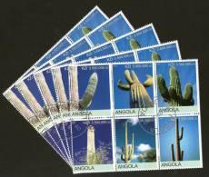 Angola 2000 Cactus Tree Plant Orchid Flora Setenant BLK/6 Cancelled X5 # 13505 - Cactusses