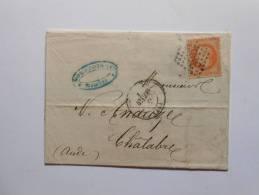 N °30 Sur Lettre , DE Carcassonne Pour Chalabres.nuance,varieté - 1863-1870 Napoléon III Lauré