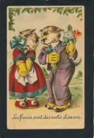 """CHATS - CAT - Jolie Carte Fantaisie Chats """"Les Fleurs Sont Des Mots D'amour  """" - Art Shop - Katten"""