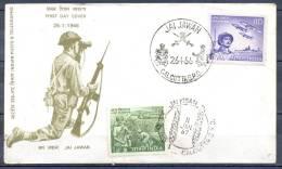 FDC   INDIA     JAI JAWAN     Le 26 1 1966    CALCUTTA   Theme  MILITARIA - FDC
