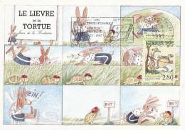 D11596 CARTE MAXIMUM CARD 1995 FRANCE - FABLE - TURTLE AND HARE BY FONTAINE CP ORIGINAL - Turtles