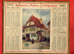 ALMANACH DES POSTES ET TELEGRAPHES 1941 SCHERWILLER BAS RHIN IMPRIMEUR OBERTHUR - Calendars