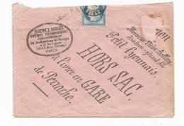 - Lettre - SEINE - PARIS - AGENCE HAVAS - Env.HORS SAC - Càd T.17 S/TP N°60 Coupé - 1875 - 1871-1875 Cérès