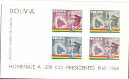 Bolivia 1966 Co-President S/S Imperf MNH - Bolivia