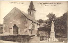 CARTE POSTALE    CRUZILLES  L EGLISE ET LE MONUMENT AUX MORTS - Francia