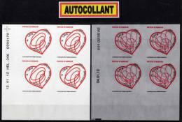"""TIMBRES AUTOCOLLANTS  """" ADELINE ANDRÉ 0.60€ + 1.00€ X4 COIN DATÉ """"  DÉCOUPAGE IMPECCABLE ADHÉSIF 2012 - Adhésifs (autocollants)"""