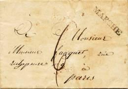 612/20 - Lettre Précurseur 1818 Griffe Noire MARCHE Vers PARIS - Origine ST HUBERT - 1815-1830 (Dutch Period)