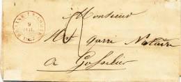 619/20 - Lettre Précurseur 1847 BRAINE LE COMTE Vers Notaire à GOSSELIES - 1830-1849 (Belgique Indépendante)