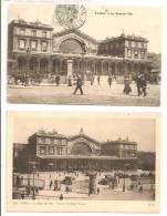 75 - PARIS 10e  -   Lot De 2 Cartes - La Gare De L' Est   -   Animation  Calèches, Voitures.... - Métro Parisien, Gares