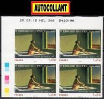 """TIMBRES AUTOCOLLANTS  """"EDWARD HOPPER: SOLEIL DU MATIN 1.45€  X4 COIN DATÉ """"  DÉCOUPE IMPECCABLE  ADHÉSIF 2012 - Adhésifs (autocollants)"""