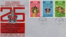Nouvelles Hébrides: 1976 Belle Fdc 25 Ans Série Du Couronnement D'Elisabeth II - FDC