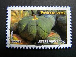 FRANCE OBLITERE ANNEE N° 749 POTIRONS VERTS SERIE DU CARNET DES LEGUMES POUR UNE LETTRE VERTE AUTOCOLLANT ADHESIF - France