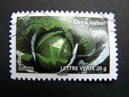 FRANCE OBLITERE 2012 N° 750 CHOU CABU SERIE DU CARNET DES LEGUMES POUR UNE LETTRE VERTE AUTOCOLLANT ADHESIF - France
