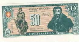 BILLET DE SERBIE # 50 DINARS # CINQUANTE DINARS # 1992 # PAPIER PLASTIFIE ? - Serbia