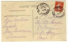 "Style DAGUINS  JUMELES  -  "" ORTHEZ  -  Bses PYRENEES  -  1902 "" - Marcophilie (Lettres)"