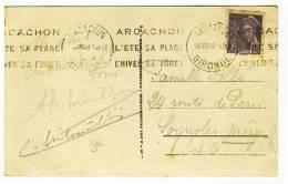 "KRAG - "" ARCACHON  -  GIRONDE  -  1939 "" + "" ARCACHON / L'ETE SA PLAGE / L'HIVER SA FORET "" - Réf. ARC106 - Marcofilie (Brieven)"