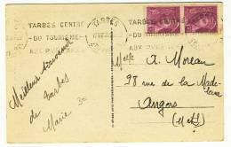 """KRAG - """" TARBES  -  Htes PYRENEES  -  1939 """" + """" TARBES CENTRE / DU TOURISME / AUX PYRENEES """" - Réf. TAR403 - Marcofilie (Brieven)"""