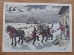 Painted E J Massicotte   /Canada / Mardi Gras In The Country / Unicef  Card/ Carnet - Pittura & Quadri