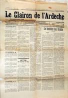 Journal : Le Clairon De L'Ardeche Du 13 Octobre 1907 - Rhône-Alpes
