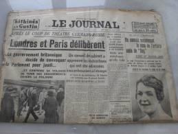 Le Journal  Edition De 5 H   Mercredi 23 Aout 1939 - Riviste & Giornali